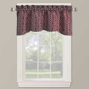 Darrow Embroidered Arch Scallop Valance in red
